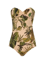 Tomas Maier Atomic Jungle Palm Print Bandeau Swimsuit