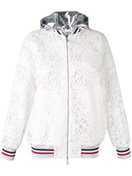 Moncler Gamme Rouge Embroidered Hooded Jacket Women Silk Cotton Polyester 00 White