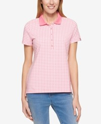 Tommy Hilfiger Short Sleeve Gingham Print Polo Only At Macy's Peony Ivory