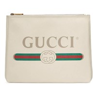 Gucci Print Leather Medium Portfolio White
