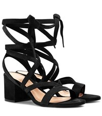 Gianvito Rossi Janis Low Suede Sandals Black