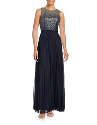 Betsy And Adam Ombre Sequined Pleated Gown Navy Silver