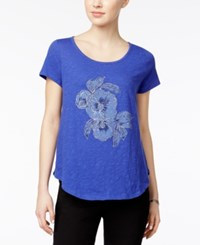 Lucky Brand Embellished Graphic T Shirt Royal Blue