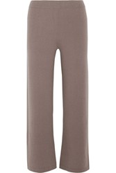 Allude Cropped Cashmere Wide Leg Pants Taupe