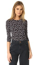 Rebecca Taylor Midnight Floral Long Sleeve Tee Black Combo