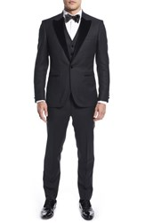 Strong Suit By Ilaria Urbinati Terry Slim Fit Three Piece Wool Tuxedo Nordstrom Exclusive Textured Black
