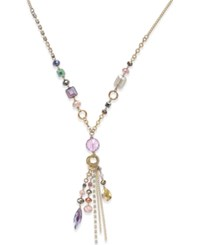 Inc International Concepts Gold Tone Multi Beaded Tassel Lariat Necklace Only At Macy's Purple