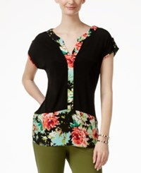 Ny Collection Floral Print Colorblocked Top Black