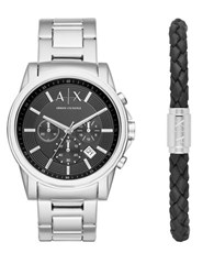 Armani Exchange Outerbanks Stainless Steel H Bracelet Watch And Leather Bracelet Gift Set Silver