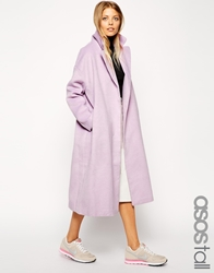 Asos Tall Coat In Relaxed Oversized Fit Lilac
