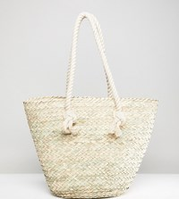 Glamorous Straw Bag With Rope Handle Beige