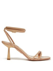 Aquazzura Isabel 75 Ankle Strap Leather Sandals Nude