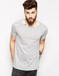 Asos T Shirt With Wide Boat Neck Grey