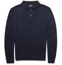 A.P.C. Knitted Merino Wool And Silk Blend Polo Shirt Navy