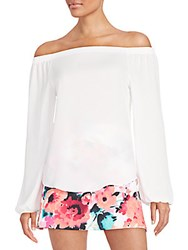 Saks Fifth Avenue Red Printed Off The Shoulder Top White