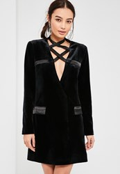 Missguided Black Velvet Satin Tie Blazer Dress