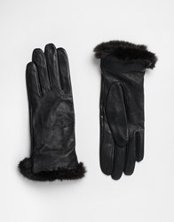 Oasis Fur Trim Leather Gloves Black