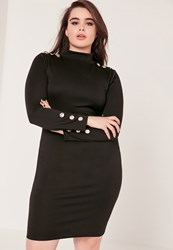 Missguided Plus Size Long Sleeve Button Dress Black