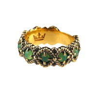 Queensbee Bubbles Ring Middle Chrysoprase Green