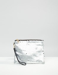 Oasis Sequin Clutch Bag Silver