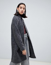 Selected Wool Midi Length Coat Grey