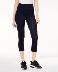 Material Girl Active Juniors' Printed Cropped Yoga Leggings Created For Macy's Heather Navy