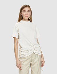 Carven Lace Up Ruched Detail T Shirt Ivory