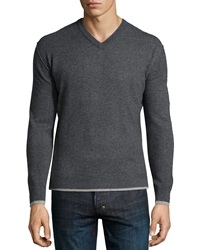 Neiman Marcus Cashmere V Neck Tipped Pullover Sweater Dark Charcoal Gray