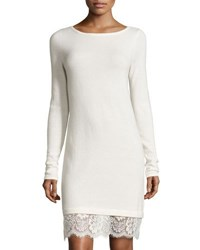 Neiman Marcus Cashmere Boat Neck Lace Hem Sweater Dress Ivory