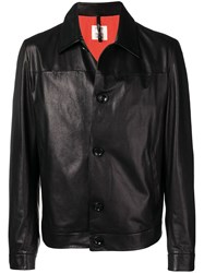 Santoni Classic Leather Jacket Black