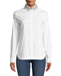 Bailey 44 Ursula Embellished Button Front Top White