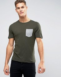 Jack And Jones T Shirt With Contrast Print Pocket Port Royale Green