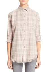 Current Elliott 'The Prep School With Fray' Plaid Oxford Shirt Pink