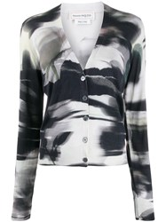 Alexander Mcqueen Abstract Print Cardigan Black