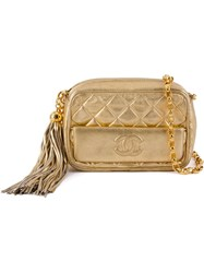Chanel Vintage Quilted Crossbody Bag Metallic