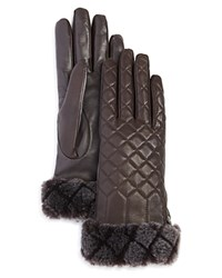 Ugg Quilted Croft Leather Tech Gloves Brown