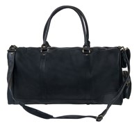 Mahi Leather Columbus Holdall Duffle Weekend Overnight Bag In Ebony Black