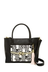 Betsey Johnson Metal Bow Flap Tote With Wristlet Black