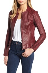 Lamarque Collarless Pleated Sleeve Leather Jacket Wine