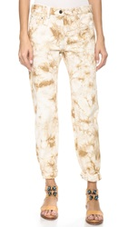 3.1 Phillip Lim Splattered Grunge Jeans Tan White