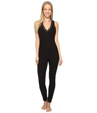 Josie Rib Lace Tank Pj Black Women's Pajama Sets