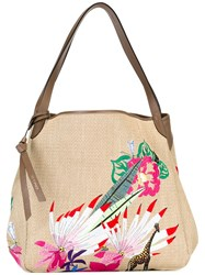 Etro Woven Embroidered Tote Nude Neutrals