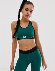 Ivy Park Active Colourblock Racerback Bra In Green Forest Green