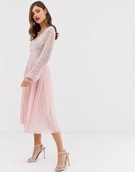 Frock And Frill Long Sleeve Pleated Midi Dress With Embellished Upper Pink