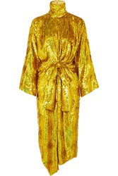Gucci Bow Detailed Sequined Silk Georgette Midi Dress Gold Gbp