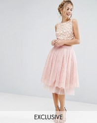 Lace And Beads Tulle Midi Skirt With Overlay Pink