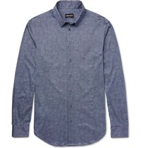 Giorgio Armani Slim Fit Printed Cotton Shirt Blue