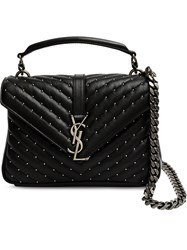 Saint Laurent Medium Monogram College Satchel Bag Black