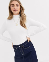 Miss Selfridge Rib Tee With Funnel Neck In Ivory Cream