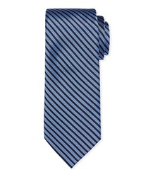 Neiman Marcus Striped Silk Tie Blue Pattern